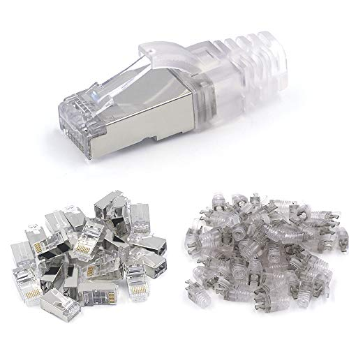 [UL Listed] VCE 50-Pack Nickel Plated Shielded RJ45 Cat6/Cat5E Modular Connector Plug for Cat5E/Cat6 Cables with Cat6/Cat5E Ethernet RJ45 Cable Cap Connector Strain Relief Boots