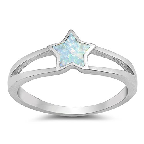 White Simulated Opal Solitaire Star Cute Ring New .925 Sterling Silver Band Size 6