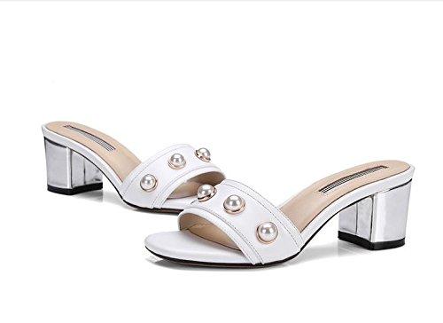 zapatillas con AJUNR 6cm blanco de Zapatos Moda elegante Transpirable heels zapatillas mujer 40 38 Sandalias high Perla dulce negrita q7rzqw