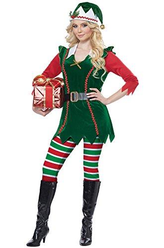 (California Costumes Women's Festive Elf - Adult Costume Green/Red)