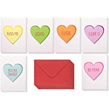 12 Pack Valentine Cards - Handmade Love Cards with 6 Assorted Heart Designs - Includes Envelopes - Romantic Greeting Cards for Valentine's Day, Anniversaries, 5 x 7 Inches
