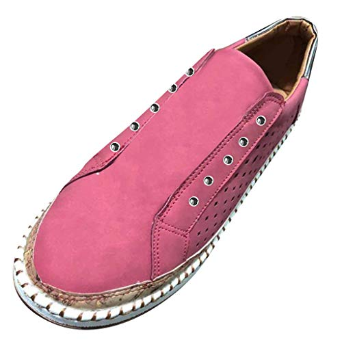 TnaIolral Ladies Shoes Casual Breathable Round Toe Slip On Flats with Sneakers (US:5.5-6, Pink)