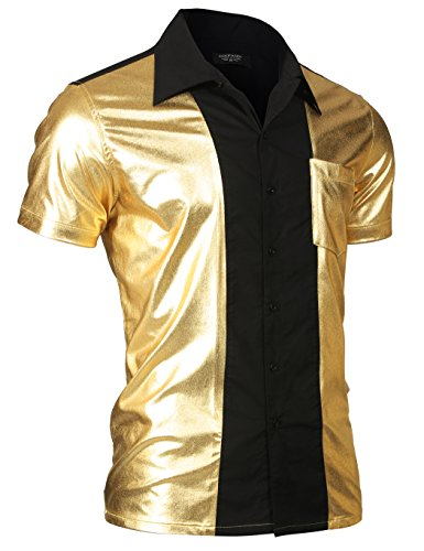 COOFANDY Men's Retro Bowling Shirt Metallic Nightclub Style Short Sleeves Button Down Shirts,Gold,X-Large