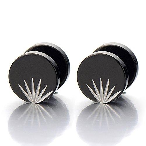 10MM Noir Bouchon d'oreille Homme - Jauge d'oreille Faux Cheater Fake - Boucles d'oreilles - Acier Inoxydable - 1 Paire