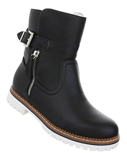 Damen Schuhe Stiefeletten Warm Gefütterte Boots Schwarz