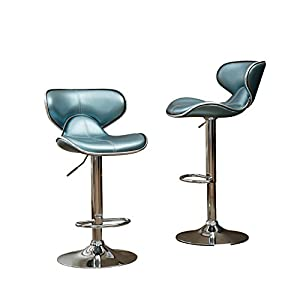 Roundhill Furniture Masaccio Cushioned Leatherette Upholstery Airlift Adjustable Swivel Barstool with Chrome Base