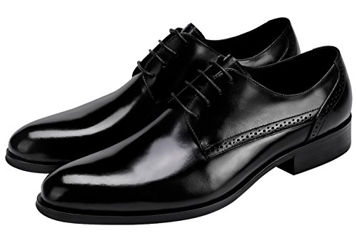 by Oxford Dress Men Brogue Lace Shoes Casual Shoes up Santimon Black Leather for Classic Sxq7Fgwqf