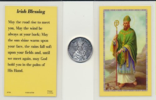 Saint Patrick Pocket Coin Token with Celtic Magnet and Laminated Irish Blessing Holy Card