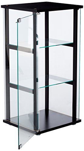 3-Shelf Glass Curio Cabinet Black and Clear