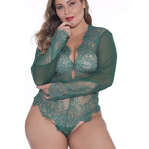 - Womens Sexy Body-Shaping Perspective Lace Interesting Underwear Green
