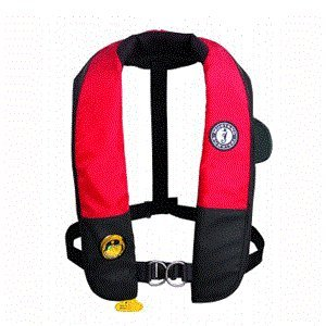 Mustang Deluxe Auto Inflator - Deluxe Auto Hydrostatic Inflatable PFD with Sailing Harness Color: Red / Black