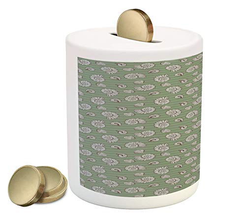 Lunarable Marine Piggy Bank, Seashells on Horizontal Stripes Creative Nautical, Printed Ceramic Coin Bank Money Box for Cash Saving, Peacock Green Pale Taupe and Redbrown