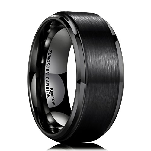 King Will 10mm Black Tungsten Carbide Ring Men Wedding Band Matte Finish Step Edge Comfort Fit(7.5) - Men Tungsten Step Edges