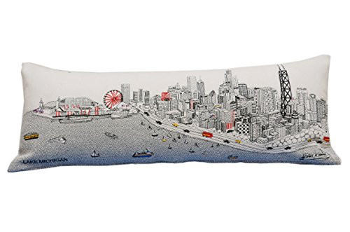 Beyond Cushions Chicago Embroidered Skyline Cushion Cover, Day Time, Queen Size by BEYOND CUSHIONS