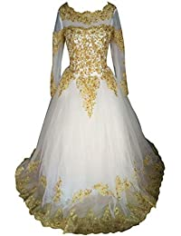 Luxury Gold Colored Appliques Long Sleeve Organza Corset Wedding Dress