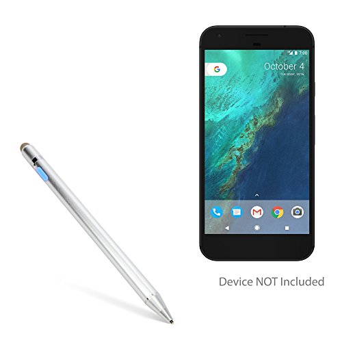 Google Pixel XL Stylus Pen, BoxWave [AccuPoint Active Stylus] Electronic Stylus with Ultra Fine Tip for Google Pixel XL - Metallic Silver