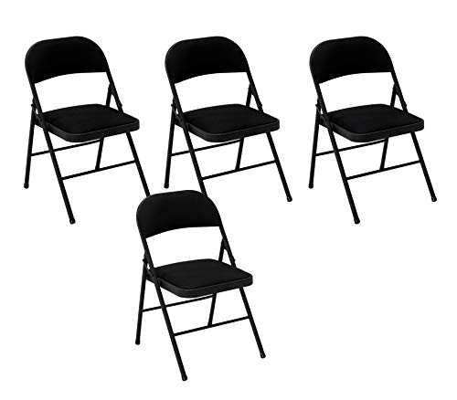 Cosco Fabric Folding Chair Black (4-pack) (And White Black Dining Fabric Chairs)
