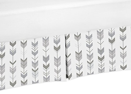 Sweet Jojo Designs Grey and White Boy or Girl Unisex Pleated Crib Bed Skirt Dust Ruffle for Woodland Arrow Collection by by Sweet Jojo Designs