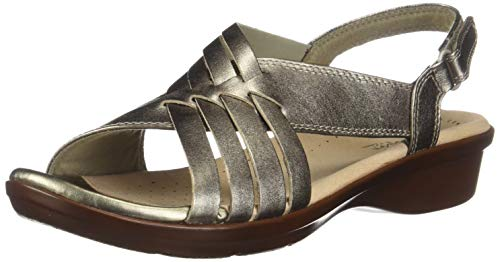 CLARKS Women's Loomis Cassey Sandal Pewter Metallic Leather 065 M US ()