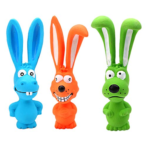 GMSP Latex Rabbit Puppy Chewing Molar Squeeze Pet Bite Resistant Toy Teething Healthy (Blue)