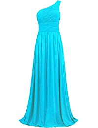 Womens Pleat Chiffon One Shoulder Bridesmaid Dresses Long Evening Gown