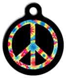 Dog Tag Art Custom Pet ID Tag for Dogs – Tie Dye Peace Symbol – Small – .875 inch, My Pet Supplies