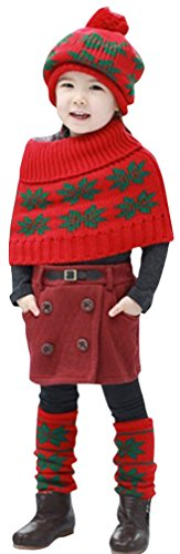Outfits Day Wacky (3PC Lovely Children Hat Winter Warm Snowflake Cap Cape Scarf Leg Warmer)