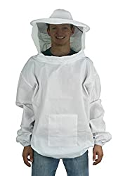 Vivo New Professional White Mediumlarge Beekeepingbee Keeping Suit, Jacket, Pull Over, Smock With A Veil By (Bee-v105)