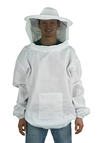 New Professional White Medium / Large Beekeeping / Bee Keeping Suit, Jacket, Pull Over, Smock with a Veil by VIVO (BEE-V105)