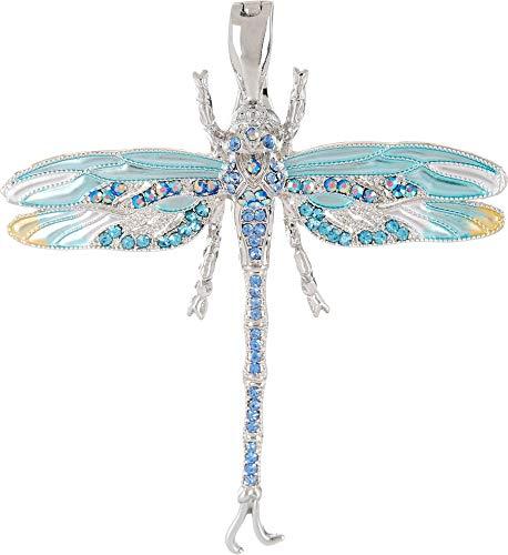 - Wearable Art by Roman Rhinestone Dragonfly Pendant One Size Aqua Blue Multi