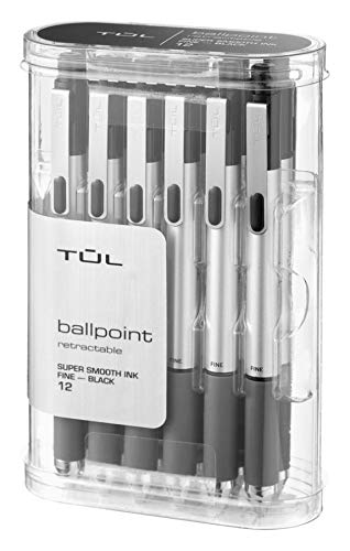 Fine Barrel Black Point - TUL BP3 Ballpoint, Retractable, Fine Point, 0.8 mm, Silver Barrel, Black Ink, Pack of 12