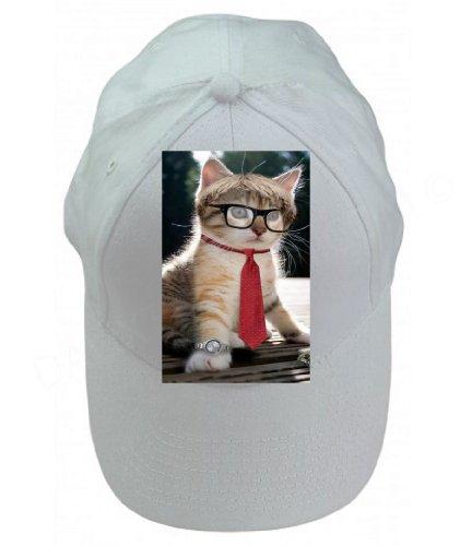 Cute Kitty Cat Glasses Necktie Watch 100% Cotton White Adjustable Cap ()