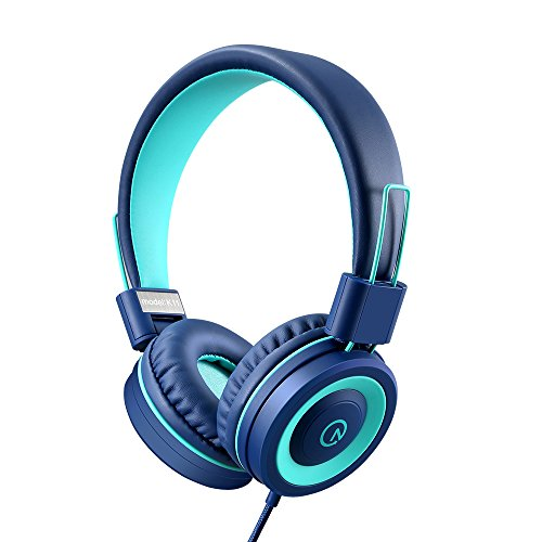 Kids Headphones - noot products K11 Foldable Stereo Tangle-Free 3.5mm Jack Wired Cord On-Ear Headset for Children/Teens/Boys/Girls/Smartphones/School/Kindle/Airplane Travel/Plane/Tablet (Navy/Teal) (Best Smartphone For Kids)
