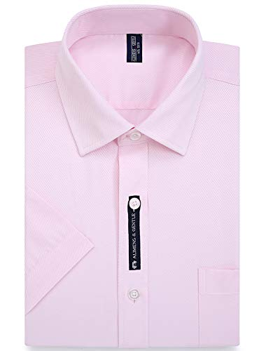 Alimens & Gentle Twilled Texture Bussiness Men's Dress Shirt Short Sleeve Regular Fit - Color: Pink 1, Size: 6XL / 22 Neck