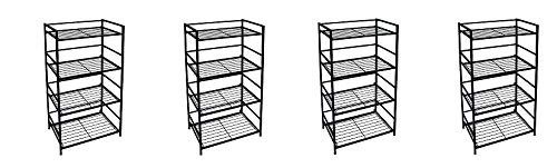 Flipshelf-Folding Metal Bookcase-Small Space Solution-No Assembly-Home, Kitchen, Bathroom and Office Shelving-Black, 4 Shelves, Wide 4- Pack