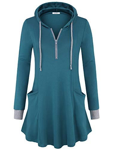 Vivilli Sweatshirts for Women, Women's Thin Tunic Hoodie Long Sleeve Hooded Shirts V-Neck Pullover A-line Flowy Curved Hemline Feminine Petite Tunic Tops with Double Pockets (Dark Cyan,Small)