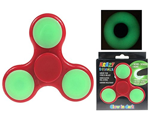 Glow In the Dark Fidget Spinner Toy High Speed Hand Spinner EDC Stress and Anxiety Relief Spinner by Krazy Spinner (Glow In Dark Red)