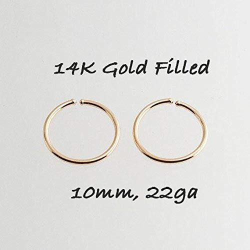 Tiny Hoop Earrings, Cartilage Gold, Tragus Gold tiny Hoops, Handmade Hoops, Small and thin Earlobes, Gift for Her, 10mm ()