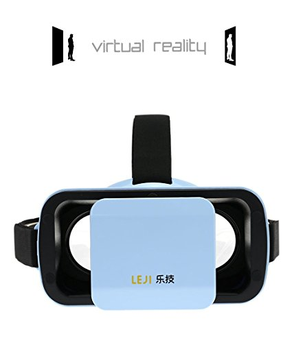 """Mini 3D VR Headset Glasses Virtual Reality for iPhone 6s/6 Plus/6/5S/5C/5 Samsung Galaxy S5/S6/Note4/Note5 & Other 4.7""""-6.0"""" Cellphones (Blue) (Blue)"""