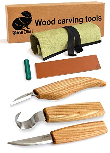Wood Carving Tools Set for Spoon Carving 3 Knives in Tools Roll Leather Strop and Polishing Compound Hook Sloyd Detail Knife (Right-Handed Spoon Carving Knives)