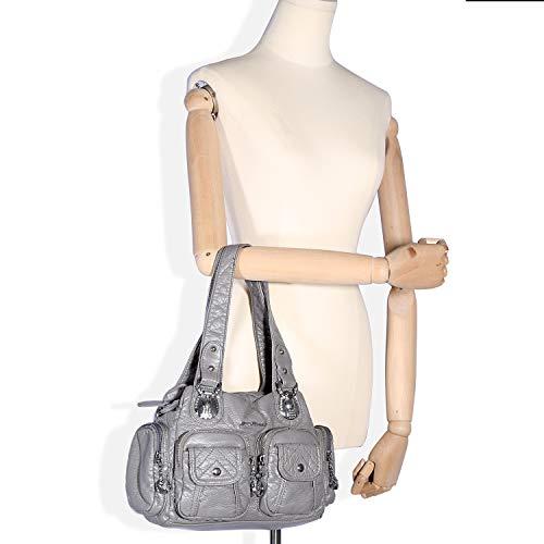 bag 55 Purse Bag Handbag Women's Handle Satchel Top Shoulder For grey 2 Handbag Bag Compartment Ak18581 And Bags Mini Women 56XqUxwgq