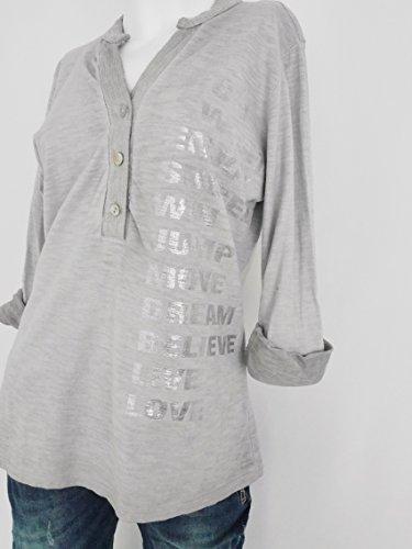 Damen Statement Longsleeve Shirt Knopfleiste Paillletten Baumwolle hellgrau mit Print in silber Einheitsgröße - S M 36 38 40 (8067)