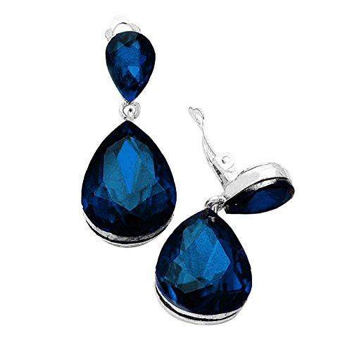 """Blue Rhinestone Dangle - Chunky Deep Montana Blue Rhinestone Clip-On Teardrop Dangle Earrings in Silvertone 1 3/4"""" Long"""