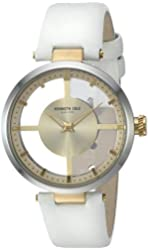 Kenneth Cole New York Women's 10022539 Transparent Analog Display Japanese Quartz White Watch