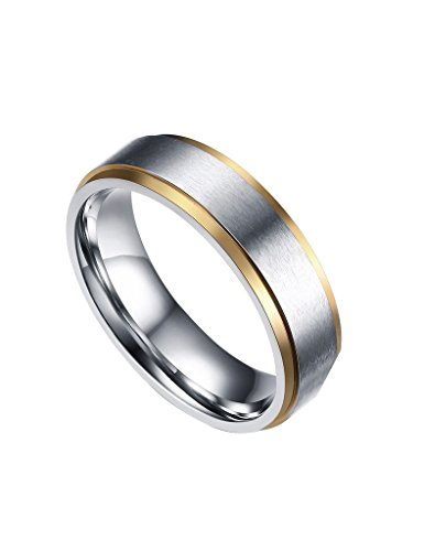 Wedding Two Tone Band Ladies (FANSING Costume Jewelry Mothers Day Gift 6mm Stainless Steel Rings Gold Silver Two Tone Wedding Bands for Womens Mens Size 11)
