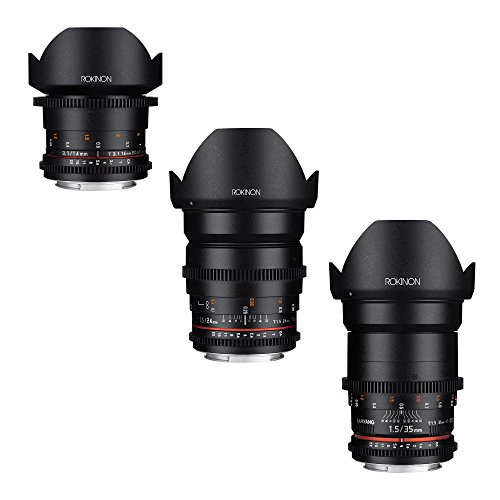Rokinon CINE DS Wide Angle Cine Lens Bundle – 35mm + 24mm + 14mm for Micro Four Thirds