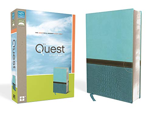 NIV, Quest Study Bible, Leathersoft, Teal: The Question and Answer Bible (Best Bible For Bible Study)