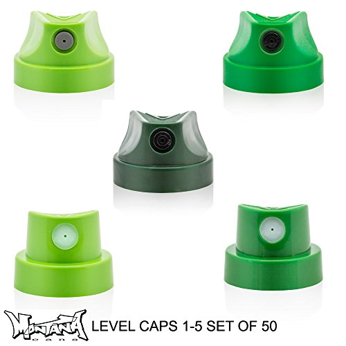 Montana Gold Level Green Caps Bulk set of 50 for Street Art Spray Paint