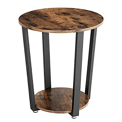"VASAGLE Industrial End Table, Metal Side Table, Round Sofa Table with Storage Rack, Stable and Sturdy Construction, Easy Assembly, Wood Look Accent Furniture with Metal Frame ULET57X - ROUND TYPE: Square tables are ok with anyone, but the special, round shape of this side table brings a breath of fresh air into your home; the lovingly designed vintage style exudes a touch of classic flair WHAT'S SERVED? This side table will accentuate an antique decoration in your home or a banquet of magnificent flowers with its black steel bars and dark wooden table top, a highlight for your living room or other spaces! SOMETHING BEHIND THE FACADE: It's not just an eye-catching table, the sturdy steel bars (0.8"" x 1.6"" wide) have a total load capacity of 220 lbs, and the 2 levels of storage space make it an indispensable piece of furniture in your home - living-room-furniture, living-room, end-tables - 41RKtcHoDIL. SS400  -"