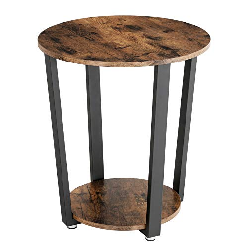VASAGLE Industrial End Table, Metal Side Table, Round Sofa Table with Storage Rack, Stable and Sturdy Construction, Easy Assembly, Wood Look Accent Furniture with Metal Frame ULET57X (Wrought Iron Coffee Table With Wood Top)